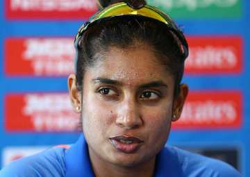 Mithalii Raj speaking at the post-match...