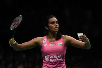 PV Sindhu of India in action - India TV