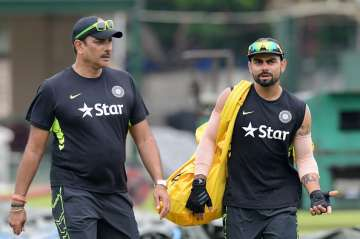 A file image of India Coach Ravi Shastri and...