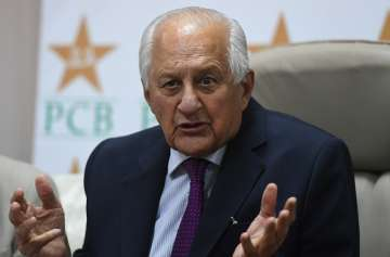 Shaharyar Khan addresses a press conference in...