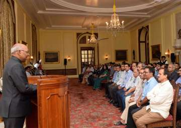 President Kovind meets the officers and staff of...