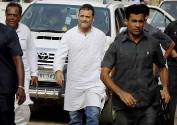 File pic - Rahul Gandhi arrives to visit flood...