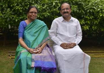 M Venkiah Naidu with his wife at his residence in...