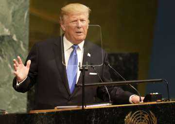 Donald Trump speaks during the United Nations...