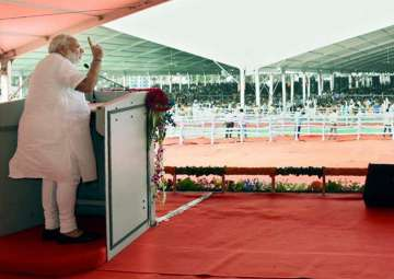 Prime Minister Narendra Modi addresses the...