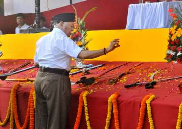 Mohan Bhagwat perform Shastra Puja on the...