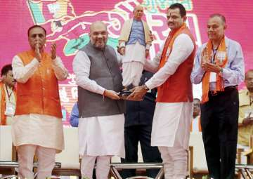 """Amit Shah during flag off ceremony of """"Gujarat..."""