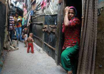 A view of Rohingya muslims staying in dilapidated...