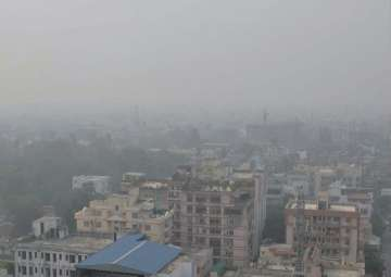 View of the city enveloped by heavy smog in Patna...