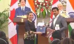 Canadian PM Justin Trudeau with PM Narendra Modi.