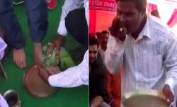 BJP worker washes MP Nishikant Dubey's feet, drinks dirty