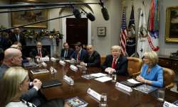 President Donald Trump speaks during a roundtable