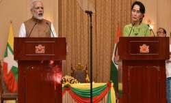 PM Modi with Myanmar's state counsellor Aung San Suu Kyi