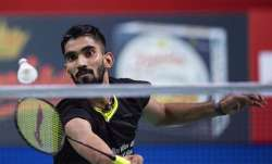 Kidambi Srikanth of India in action against Anders Antonsen