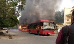 Four buses were set on fire during CAA protests on Sunday