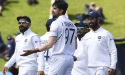 India's Ishant Sharma after dismissing New Zealand's Tim