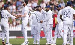 Ishant Sharma of India celebrates with Hanuma Vihari after