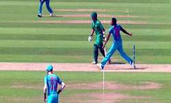 JaspritBumrah bowling a no-ball in the historic final of