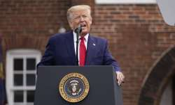 President Donald Trump speaks during a Memorial Day ceremony at Fort McHenry National Monument and H