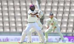 Kraigg Brathwaite of the West Indies bats as Ben Stokes of