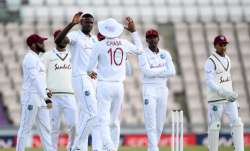 West Indies captain Jason Holder celebrates with Roston