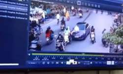 Caught on camera: Traffic police dragged on car bonnet for half a Km in Nagpur