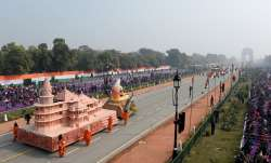 New Delhi: Dhruv Helicopters fly past Rajpath during the