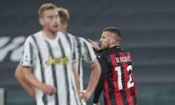 Inter Milan's Ante Rebic celebrates after scoring during