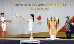An ignition ceremony for the Tokyo Olympic torch relay is
