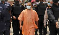 UP CM Yogi Adityanath during a visit to COVID-19 hospital,