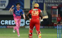 Kartik Tyagi of Rajasthan Royals celebrates the wicket of