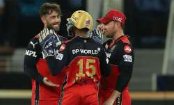 Maxwell celebrates after dismissing Rohit Sharma