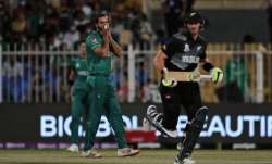 Pakistan's Imad Wasim reacts after bowling a delivery