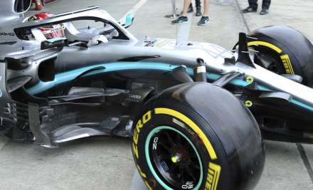 Mercedes driver Lewis Hamilton of Britain steers his car