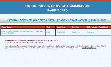UPSC NDA examination 2020 Admit Card released