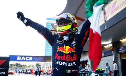 Sergio Perez wins Azerbaijan GP after Max Verstappen crashes from lead
