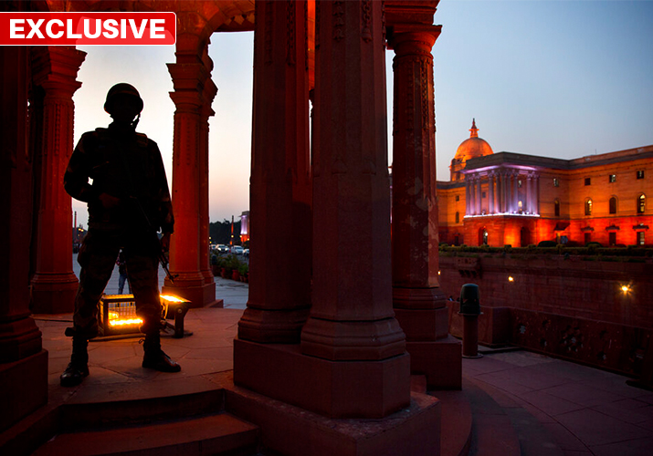 An Indian Army soldier stands guard at Raisina hills, the