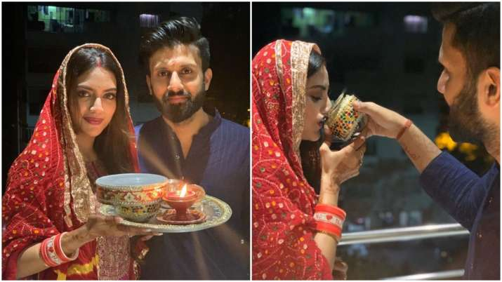 Nusrat Jahan's first Karwa Chauth pictures with husband Nikhil Jain are adorable